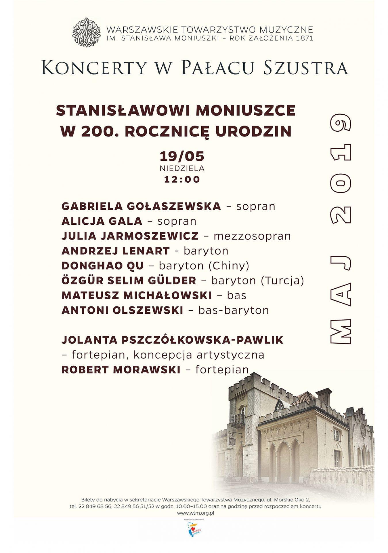 Warszawskie Towarzystwo Muzyczne im.S.Moniuszki-koncert 19.05.2019